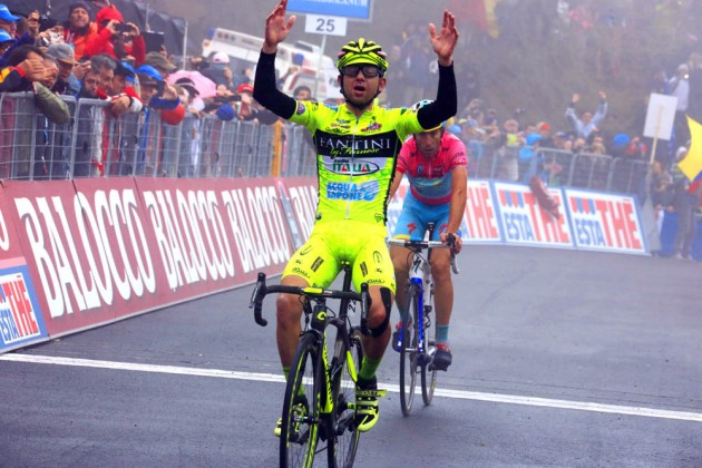 Photo: Mauro Santambrogio wins stage fourteen at the 2013 Giro d'Italia .