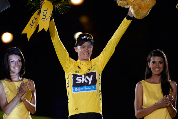 Chris Froome on podium, Tour de France 2013, stage 21