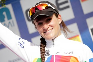Lizzie Armiststead in 2014 World Cup leader's jersey. Photo: Boels-Dolmans
