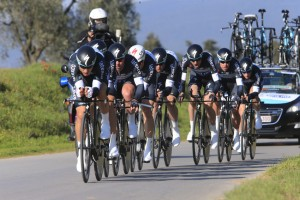 Omega Pharma Quickstep in action during the opening Team Time Trial of the 2014 Tirreno-Adriatico