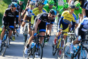 Ian Stannard and Kanstantsin Siutsou in action during Stage 2 of the 2014 Tirreno Adriatico