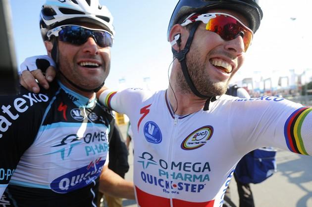 Photo: Alessandro Petacchi and Mark Cavendish, Tirreno-Adriatico 2014, stage six Credit: Graham Watson .