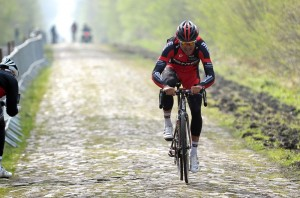 Greg van Avermaet training for the Paris-Roubaix course for 2014