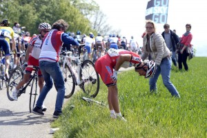 Joaquim Rodriguez crashes in the 2014 Amstel Gold Race