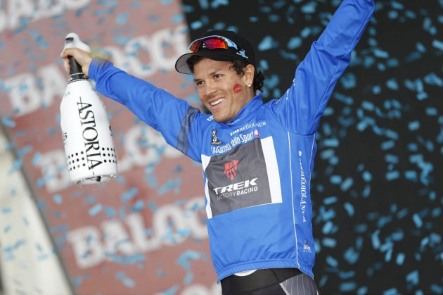 Photo: Julian Arredondo on stage twenty-one of the 2014 Giro d'Italia .