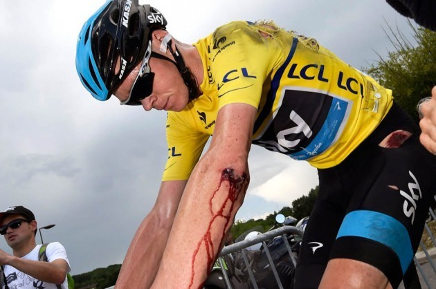 Photo: Chris Froome after a crash on stage six of the 2014 Criterium du Dauphine Credit: Graham Watson .