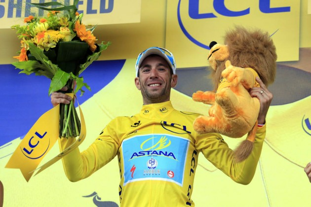 Photo: Vincenzo Nibali wins stage two of the 2014 Tour de France .