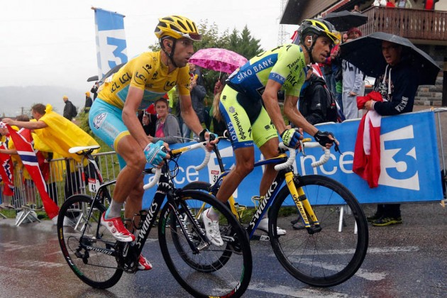 Photo: Vincenzo Nibali and Alberto Contador on stage eight of the 2014 Tour de France .