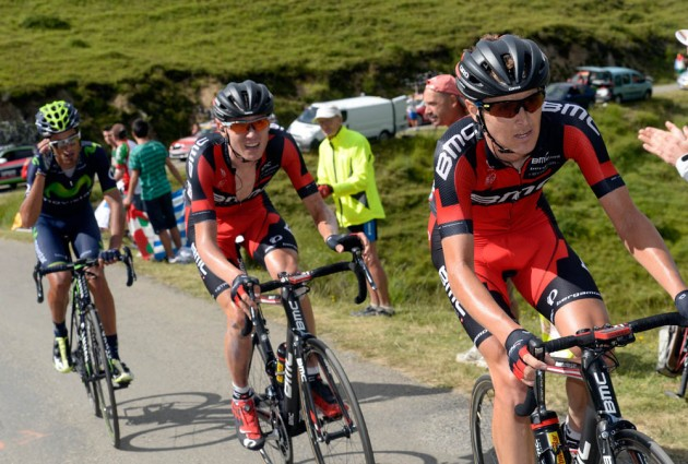 Photo: Peter Stetina paces Tejay Van Garderen on stage sixteen of the 2014 Tour de France .