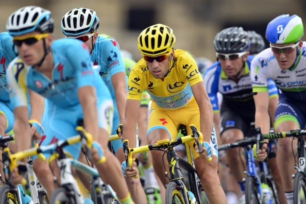 Photo: Vincenzo Nibali in action during Stage 21 of the 2014 Tour de France .