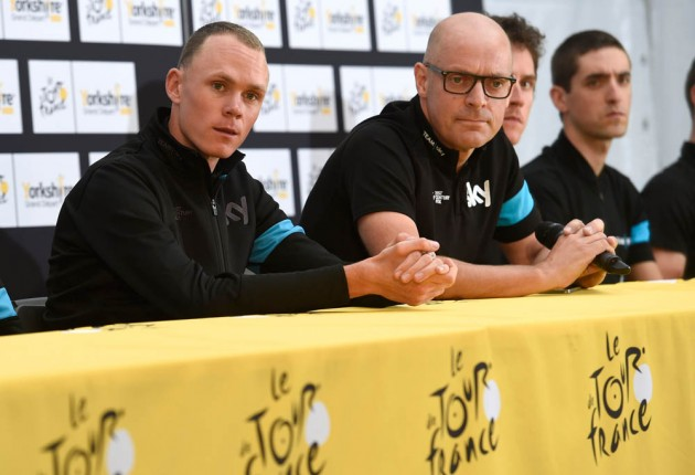 Photo: Chris Froome poses before the 2014 Tour de France .