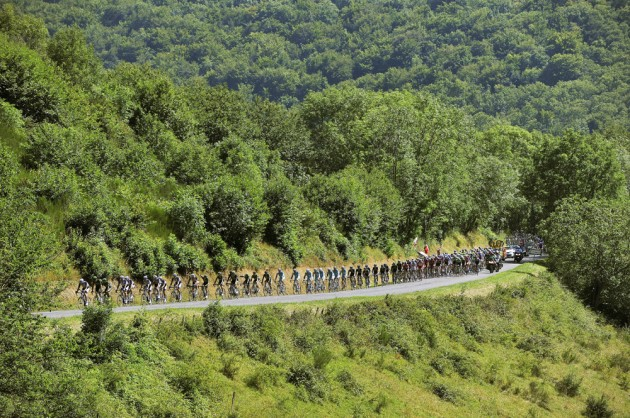 Photo: The peloton on stage twelve of the 2014 Tour de France ...