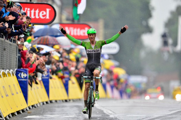 Photo: Lars Boom wins Stage 5 of the 2014 Tour de France Credit: Graham Watson .