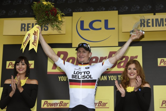 Photo: Andre Greipel on the podium after winning Stage 6 of the 2014 Tour de France.