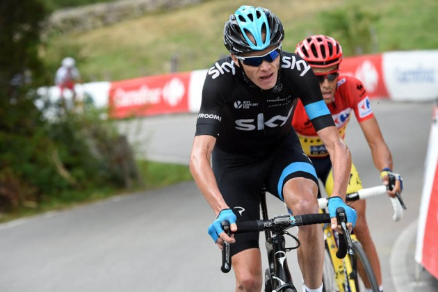 Photo: Chris Froome escapes with Alberto Contador on stage sixteen of the 2014 Tour of Spain .