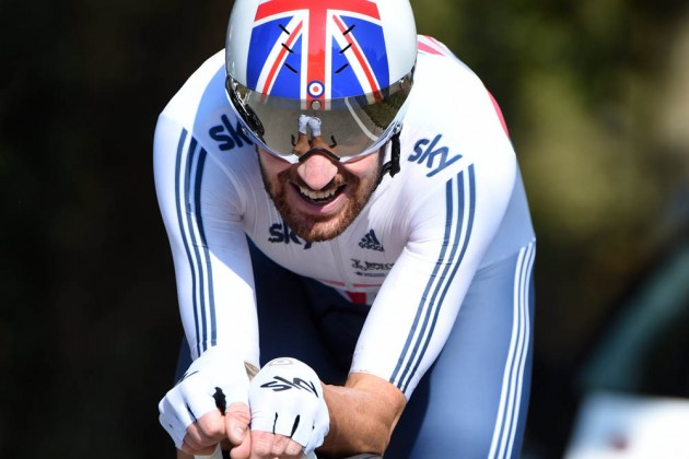 Photo: Bradley Wiggins in the Elite Mens TT at the 2014 World Road Championships .