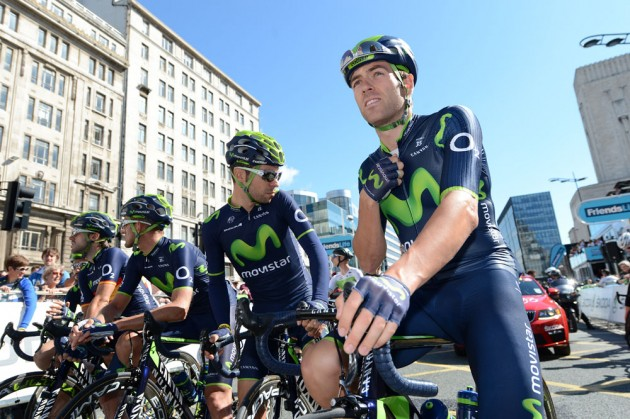 Photo: Alex Dowsett and Movistar, Tour of Britain 2014 stage one .