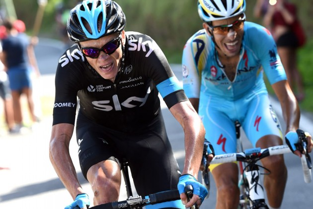 Photo: Chris Froome and Fabio Aru on stage eighteen of the 2014 Tour of Spain.