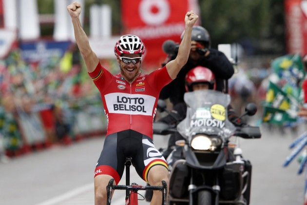 Photo: Adam Hansen wins stage nineteen of the 2014 Tour of Spain .