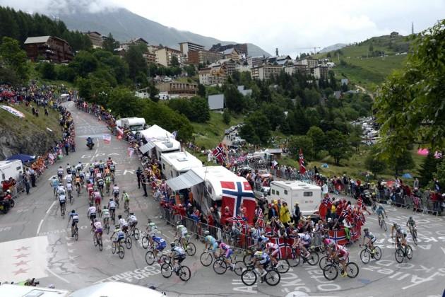 Photo: The Tour de France at Alpe d'Huez on stage eighteen of the 2013 Tour de France .
