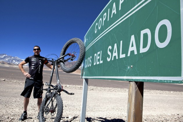 Photo: Guido Kunze rides 6,233m up the Ojos del Salado volcano on the Argentina-Chile border to set the new record..