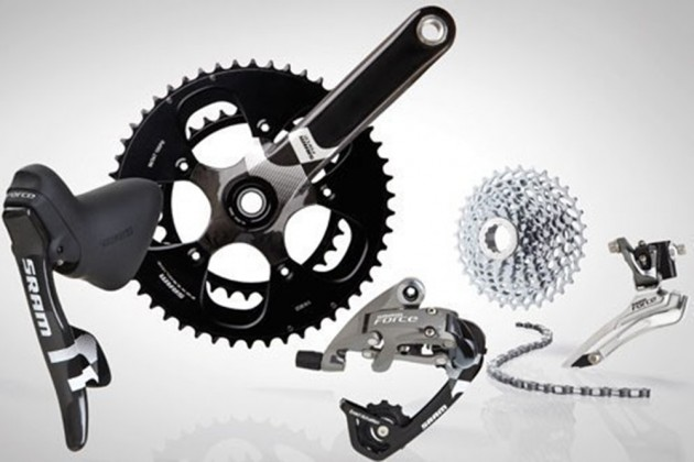 "Photo: The term ""groupset"" or ""gruppo"" refers to mechanical parts that make up a bike and typically include the gear/brake levers, front and rear brakes, front and rear derailleurs, bottom bracket, crankset, chain and cassette."