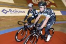 Mark Cavendish and Iljo Keisse warm-up for the 2014 Six-days of Ghent