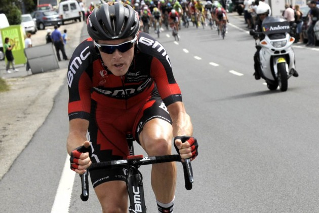 Photo: Rohan Dennis escapes on stage nineteen of the 2014 Tour of Spain .