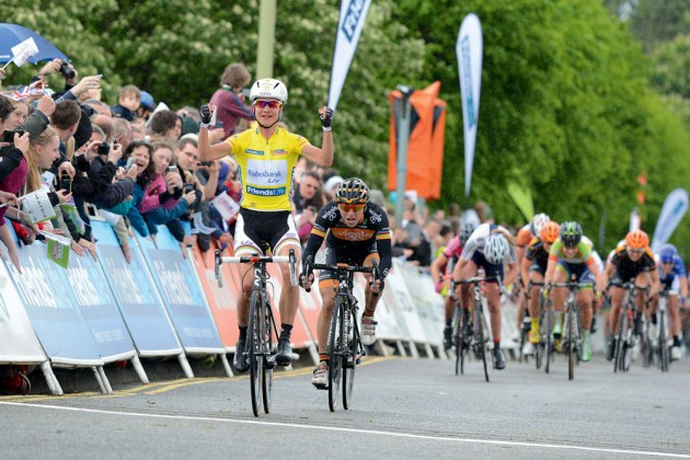 Photo: Women's Tour race leader, and eventual overall winner, Marianne Vos sprints to victory ahead of Georgina Bronzini on stage four to Welwyn Garden City.