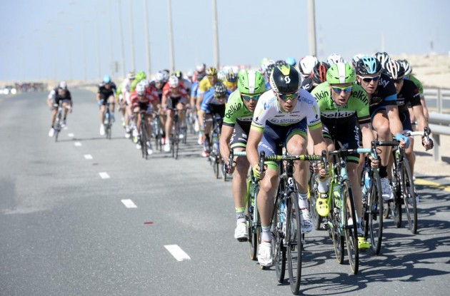 Photo: Michael Hepburn leads an escape on stage four of the 2014 Tour of Qatar .