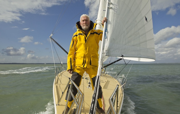 Sir Robin Knox-Johnston onboard his Open 60 yacht Grey Power ahead of the start of the Route du Rhum