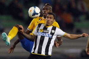 Juventus' Paul Pogba fights for the ball with Udinese's Allan Loureiro during their Italian Serie A soccer match at the Friuli stadium in Udine