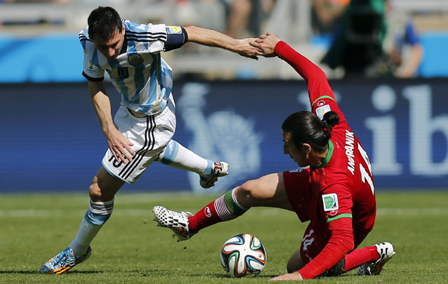 Iran in action against Argentina.