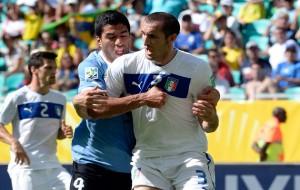 Luis Suarez and Giorgio Chiellini