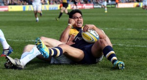 Just (ten) grand! David Lemi celebrates as he scores the Premiership's 10,000th try