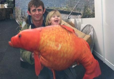 Koi carp: Chris Jones & daughter at the Big One