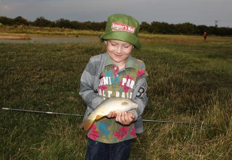Mirror carp: kayden age 6 first fishing trip