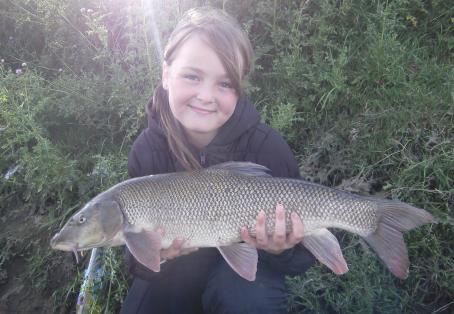 Barbel: Elle Lancaster with her first barbel and PB