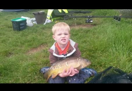 Mirror carp: My son's first carp