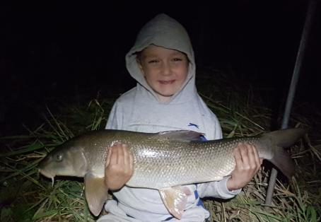 Barbel: Eli Lancaster with his new Ribble p.b barbel 10 lb 03 oz