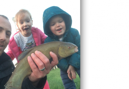 Tench: Lily & James first ever fish caught!